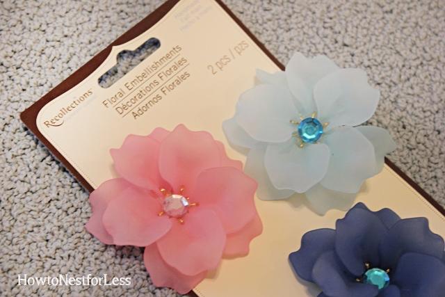 floral embellishments on wood frames