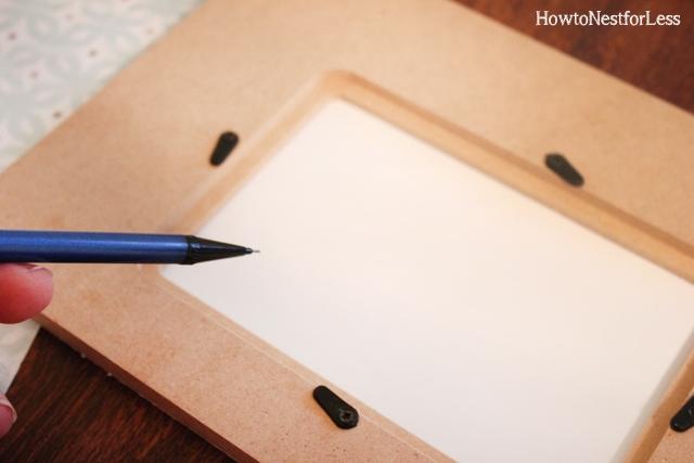 scrapbook paper embellished wood frame