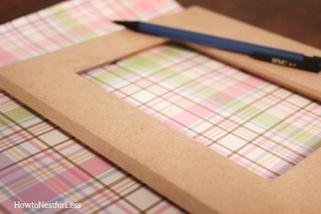 scrapbook paper embellished wood frames