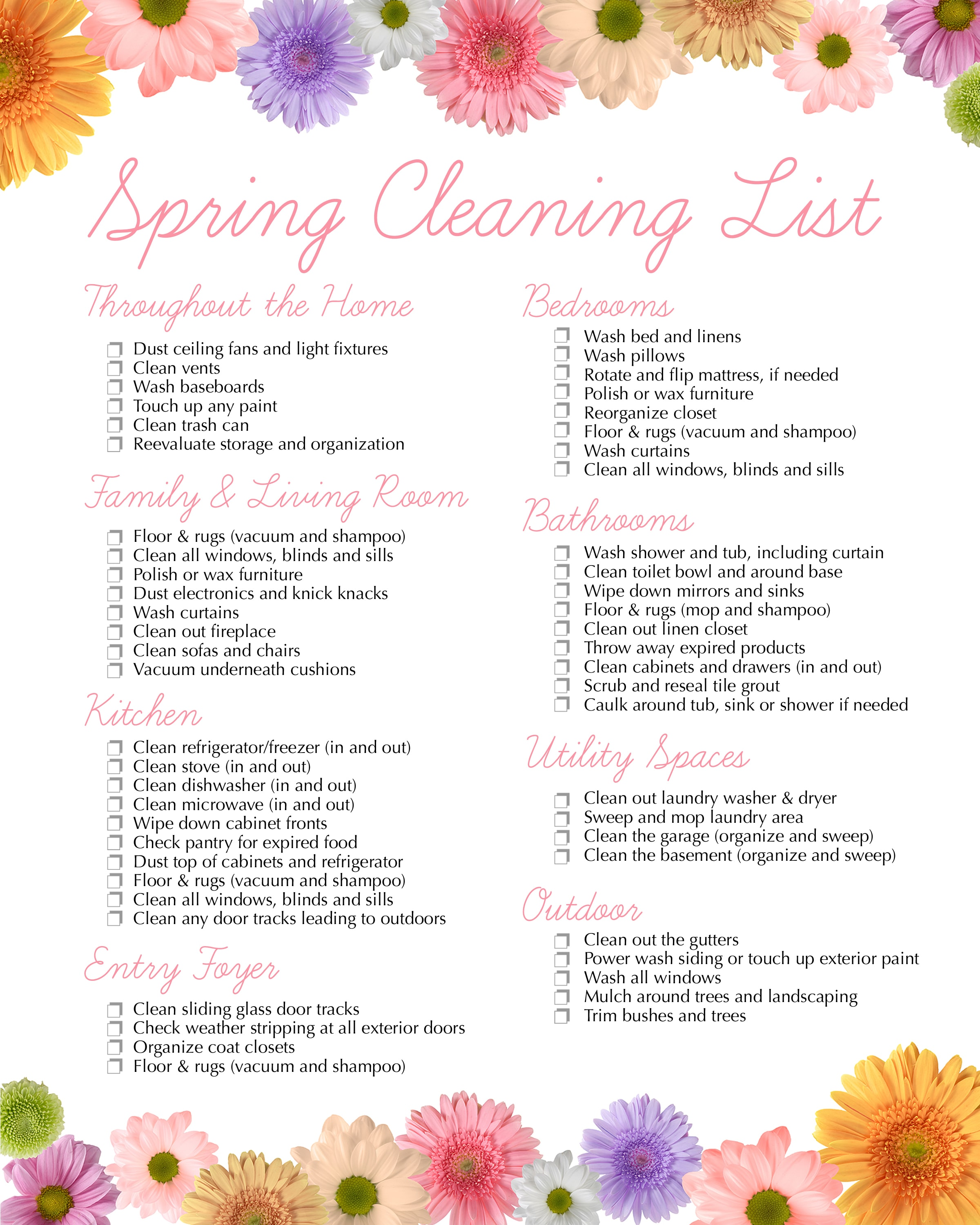 Spring Cleaning Checklist spring cleaning free printable - how to nest for less™
