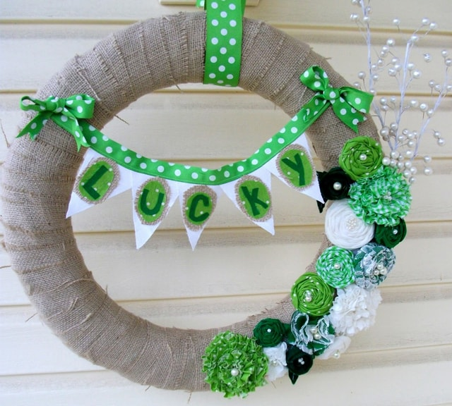 st patricks day burlap rosette wreath