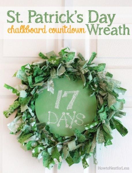 st patricks day chalkboard countdown wreath