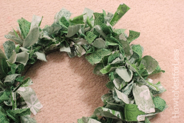 st patricks day fabric scrap wreath