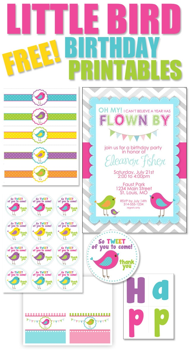 Bird Themed Birthday Party With FREE Printables How To Nest For - Birthday party invitations for kids free templates
