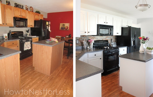 How to paint your kitchen cabinets how to nest for less for Before after kitchen makeovers