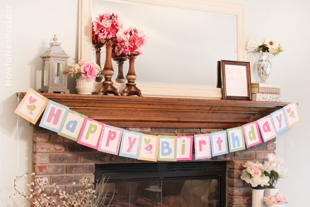 bird birthday banner free printable