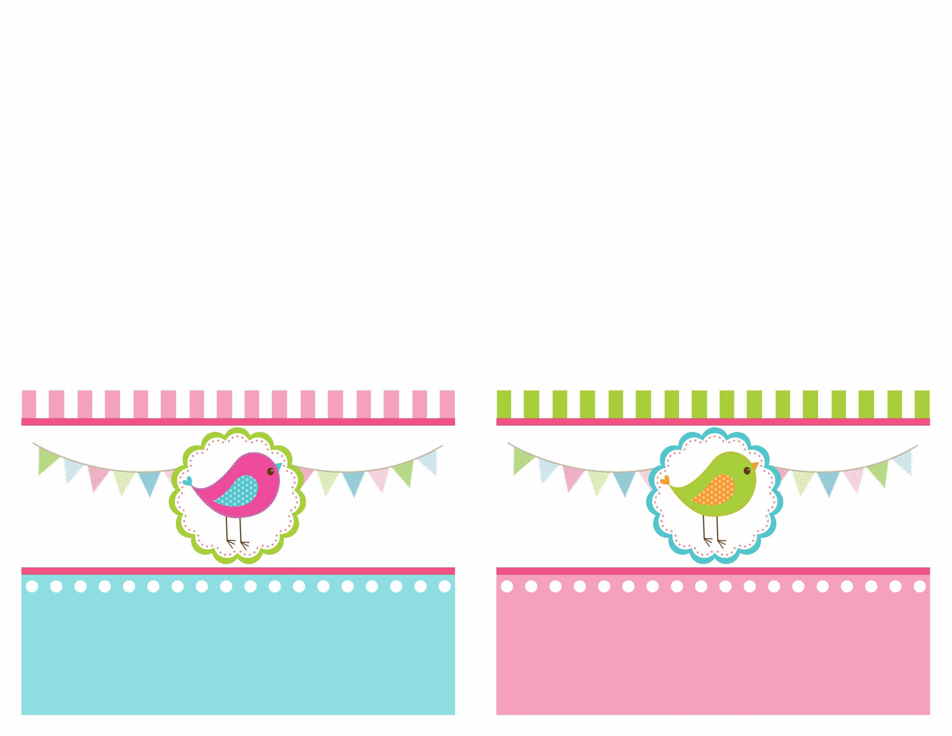 bird birthday party food card printables