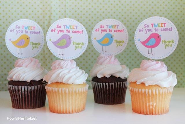 birdie birthday cupcake toppers