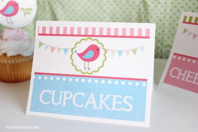 birdie birthday food cards
