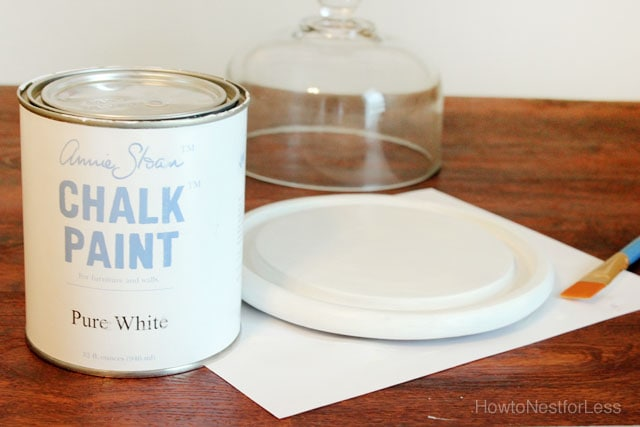 chalk paint glass cloche makeover