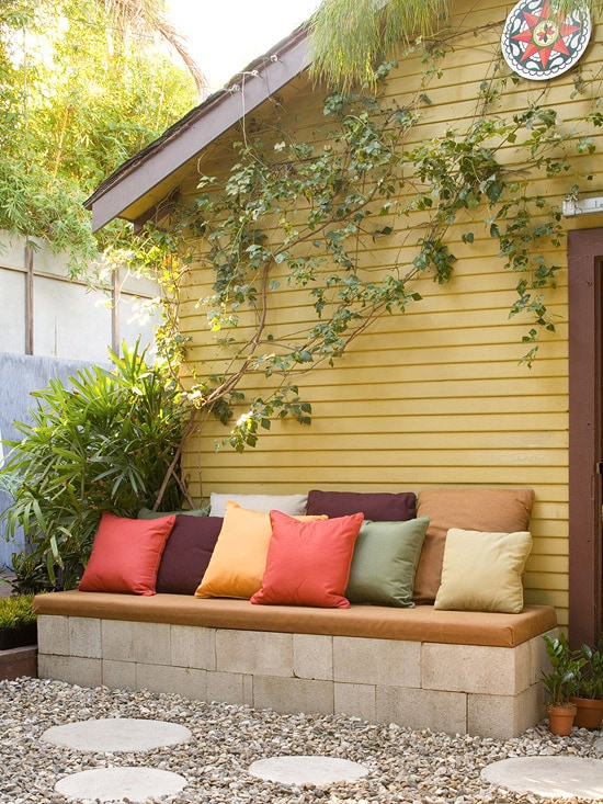 concrete bench outdoor patio