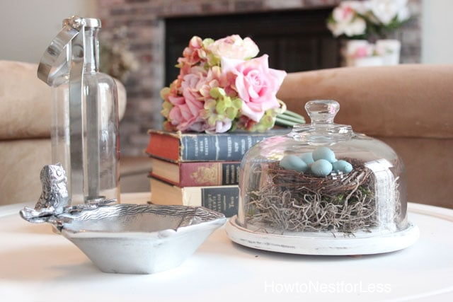 robin egg birds nest glass cloche