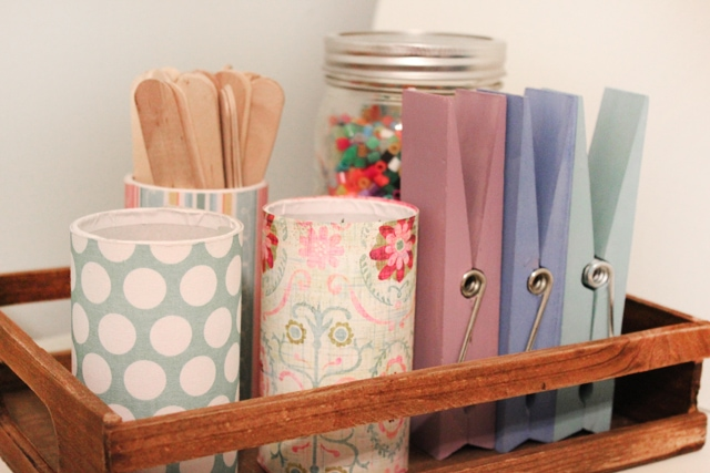 scrapbook paper covered paper cups