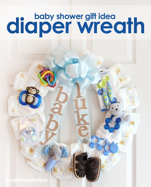 baby boy diaper wreath gift
