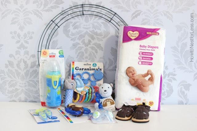baby boy diaper wreath present