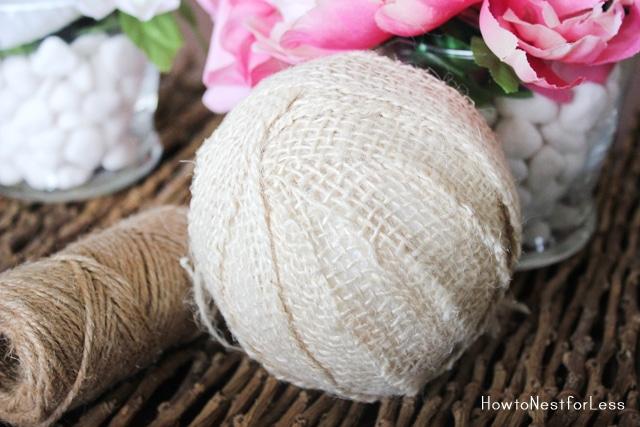 burlap twine wrapped styrofoam balls