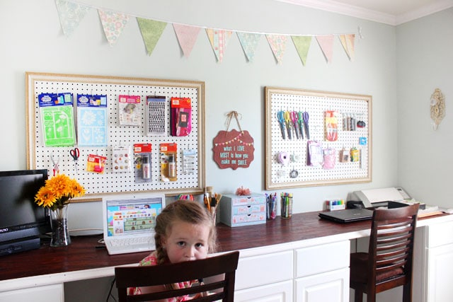 stained bunting sign in craft room
