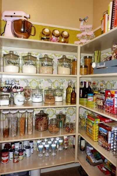 wallpapered pantry