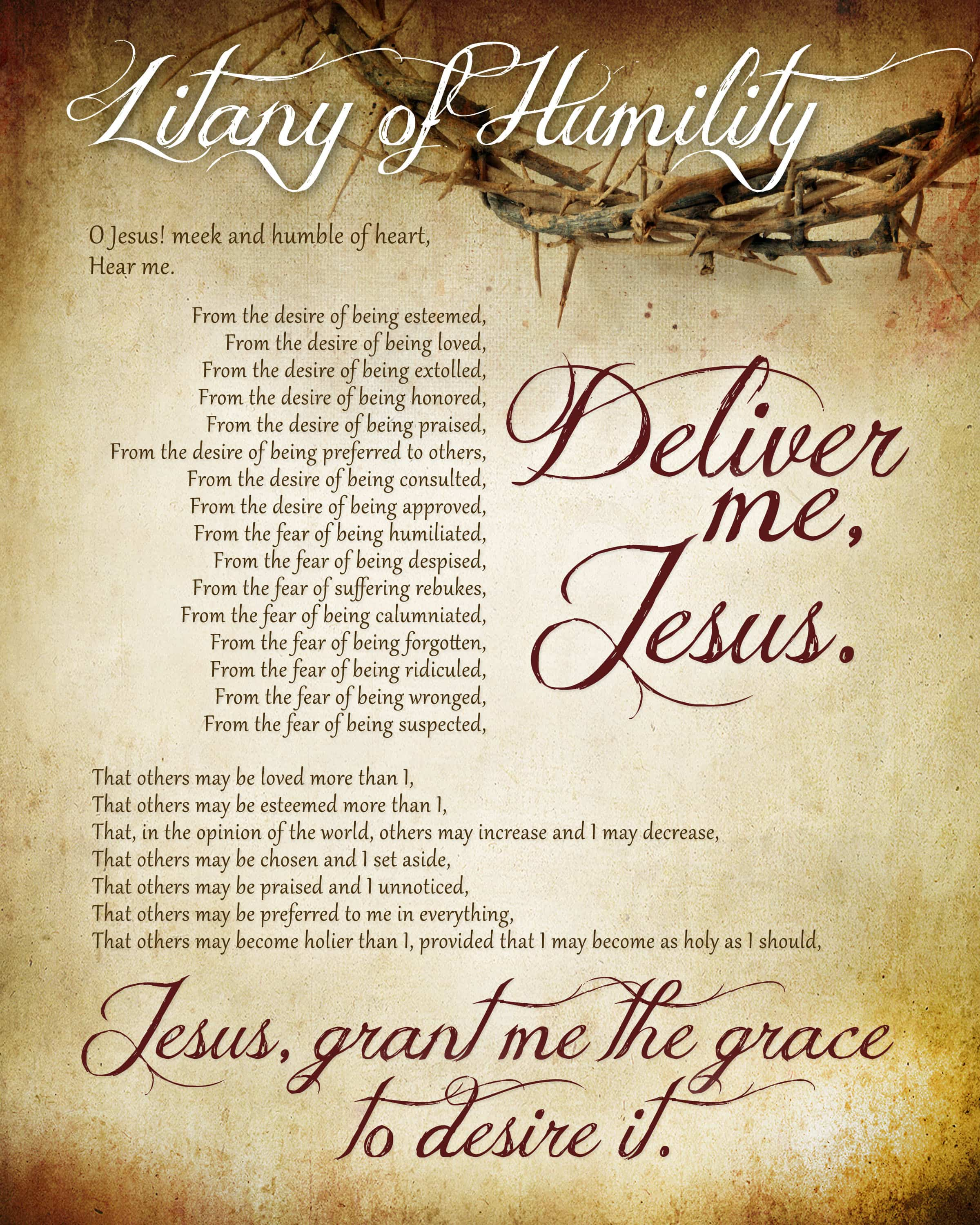 "graphic about Printable Catholic Prayers referred to as Litany of Humility Free of charge Printable - How toward Nest for Lessâ""¢"