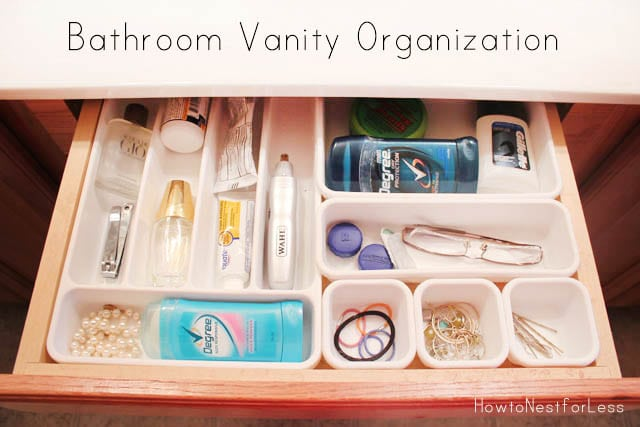 Bathroom vanity organization how to nest for less for How to organize bathroom drawers