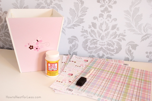 mod podge scrapbook paper trash can