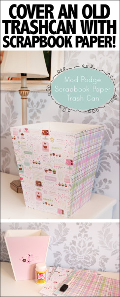 scrapbook paper covered trashcan