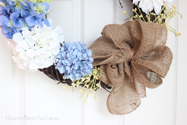 burlap bow hydrangea wreath
