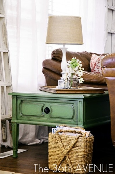 green end table makeover