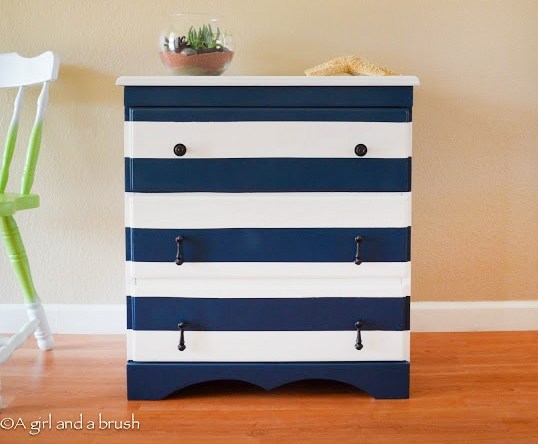 nautical striped dresser