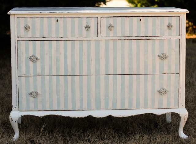 painted striped dresser
