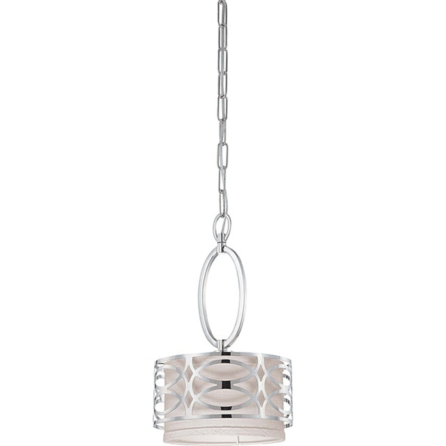 polished nickel gray fabric pendant