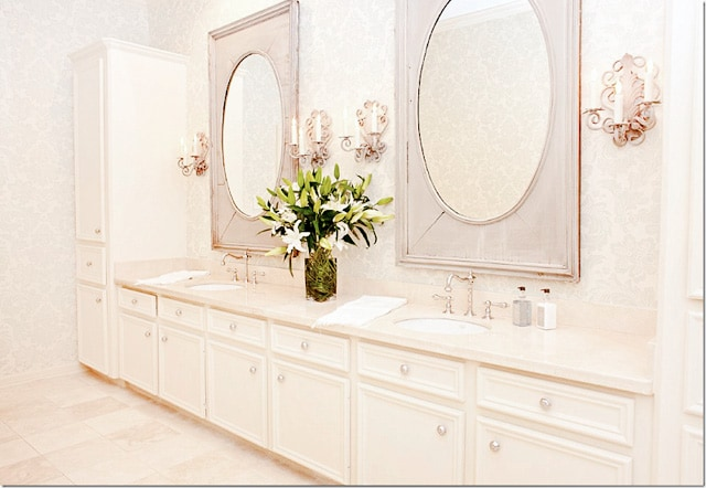 Vintage satin nickel luxury bathroom