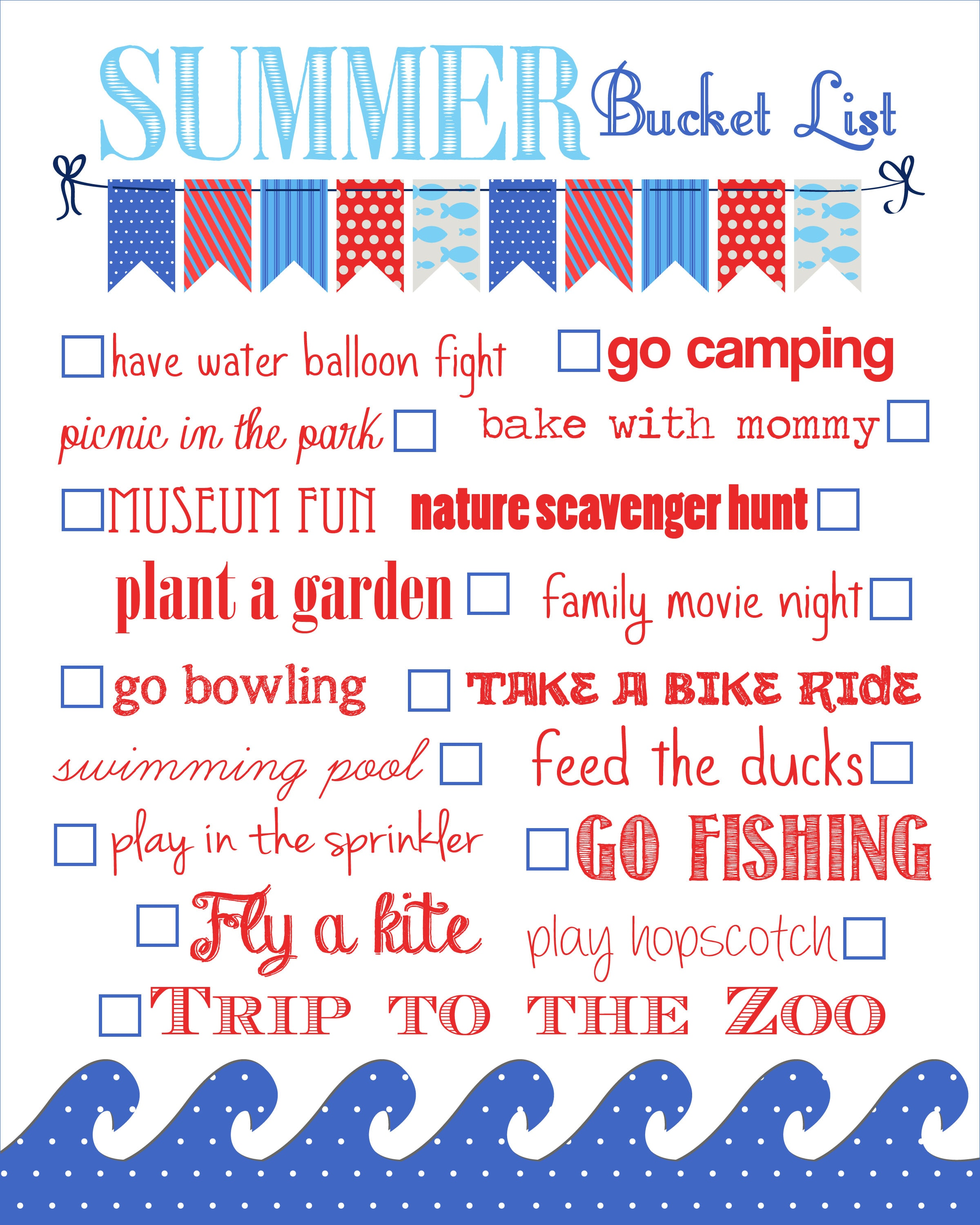 Summer Bucket List {free printable}