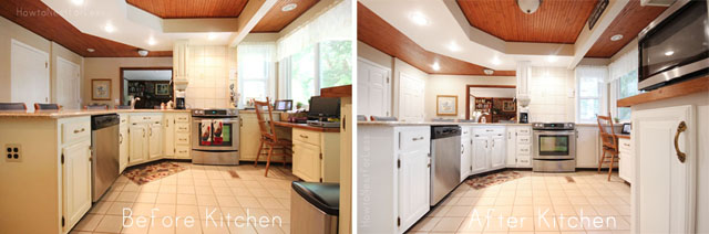 before and after kitchen cabinet makeover