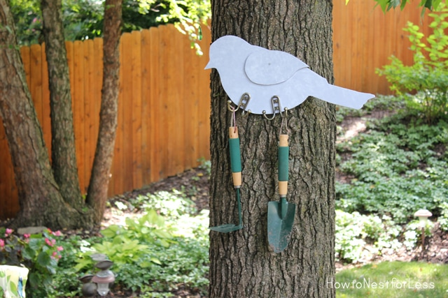 bird outdoor garden tool hanger