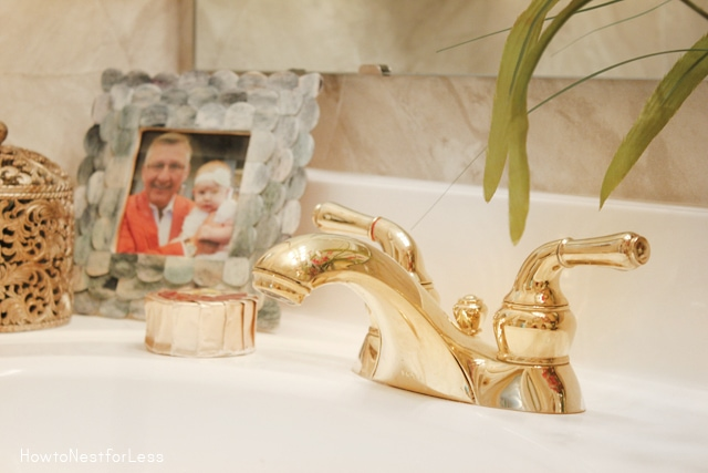 gold and white hall bathroom makeover