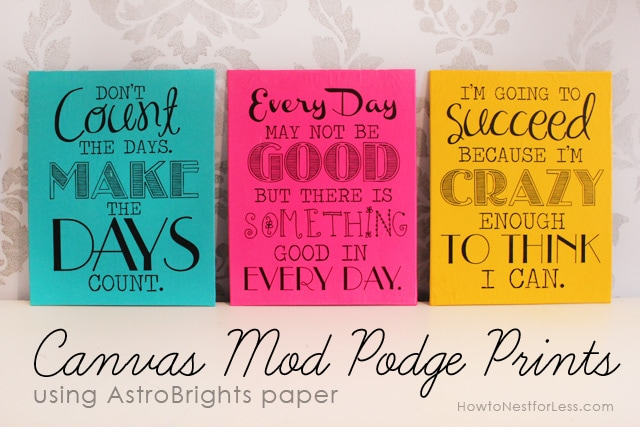 Canvas Mod Podge bright prints.