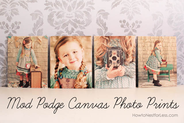 Canvas Mod Podge photo prints.