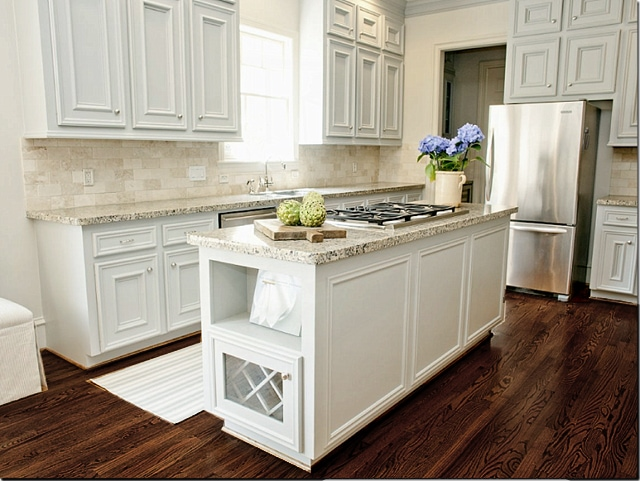 Kitchen With White Cabinets Wood Floor