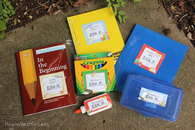 school supplies back to school labels