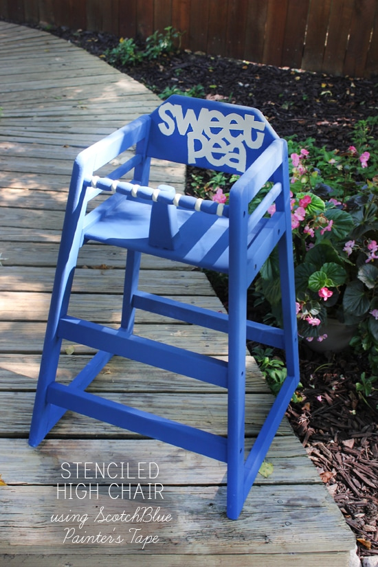 stenciled high chair tutorial
