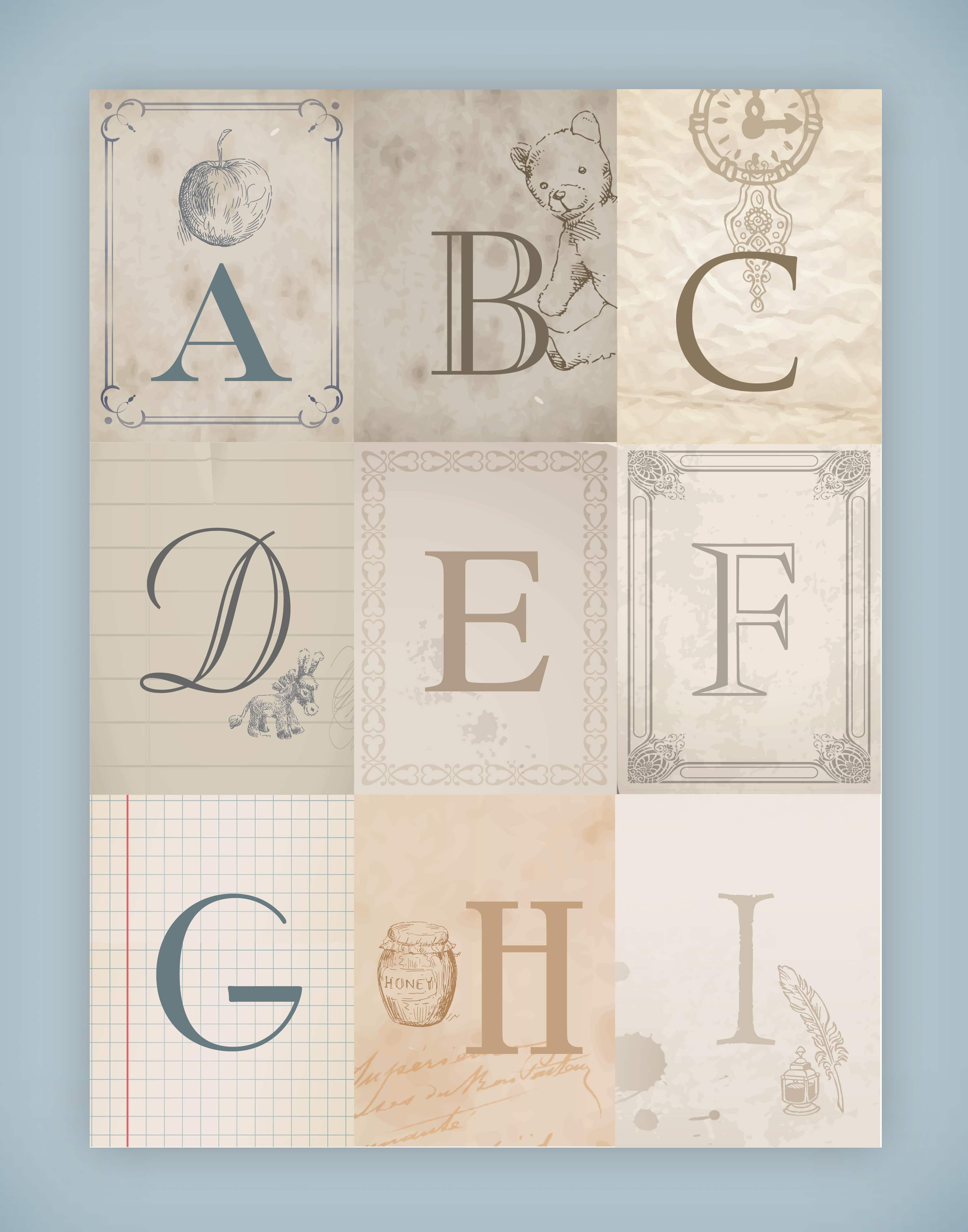 Nursery Alphabet Wall Art {free printables}