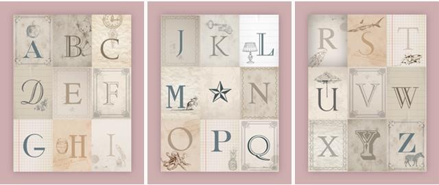vintage alphabet printable pink posters