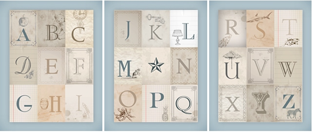 vintage alphabet printable posters