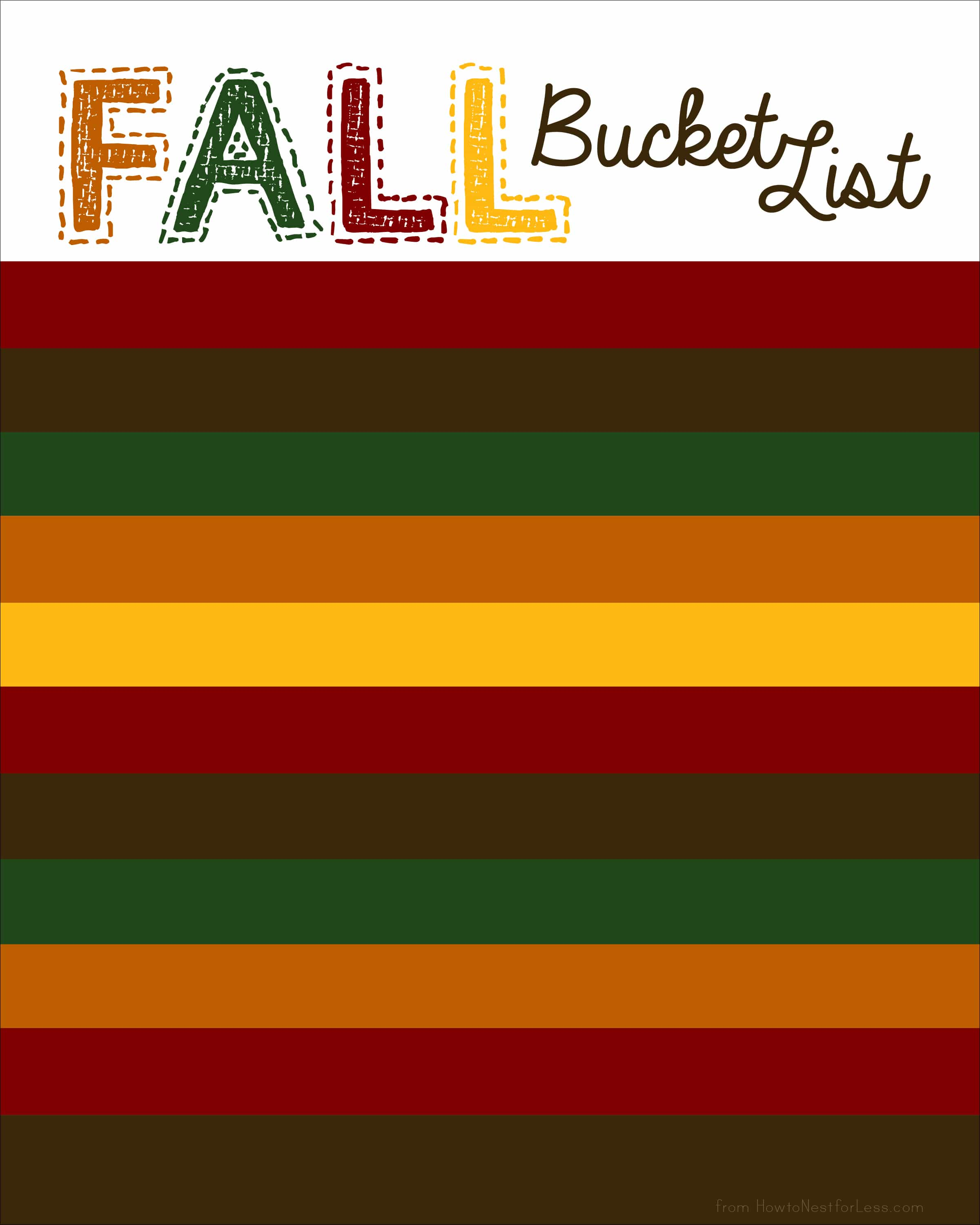 fall bucket list  and free template