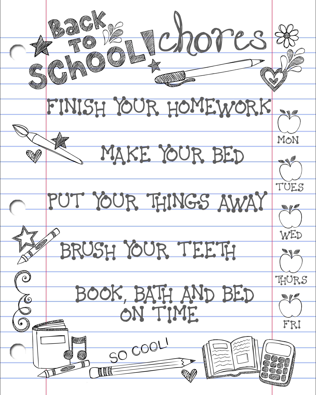household chore chart template