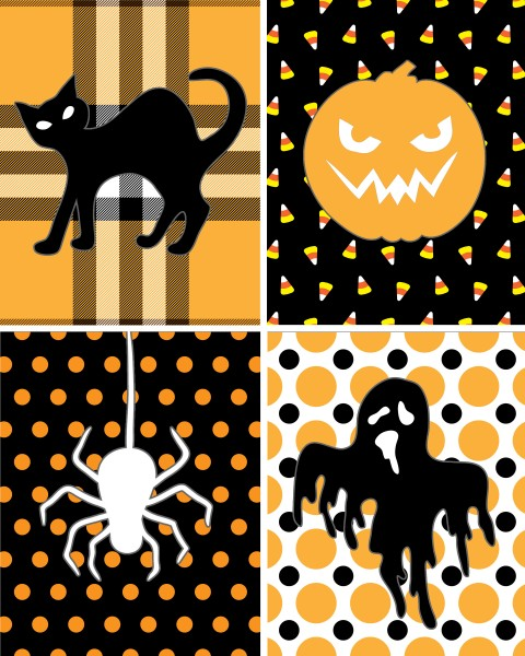 Black cat, pumpkin, spider, and ghost printable.