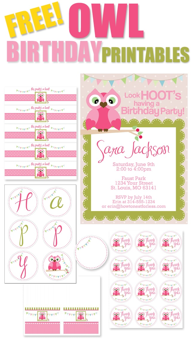 FREE OWL BIRTHDAY PARTY PRINTABLES