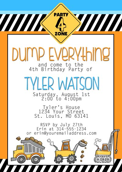 construction birthday invitation free printable