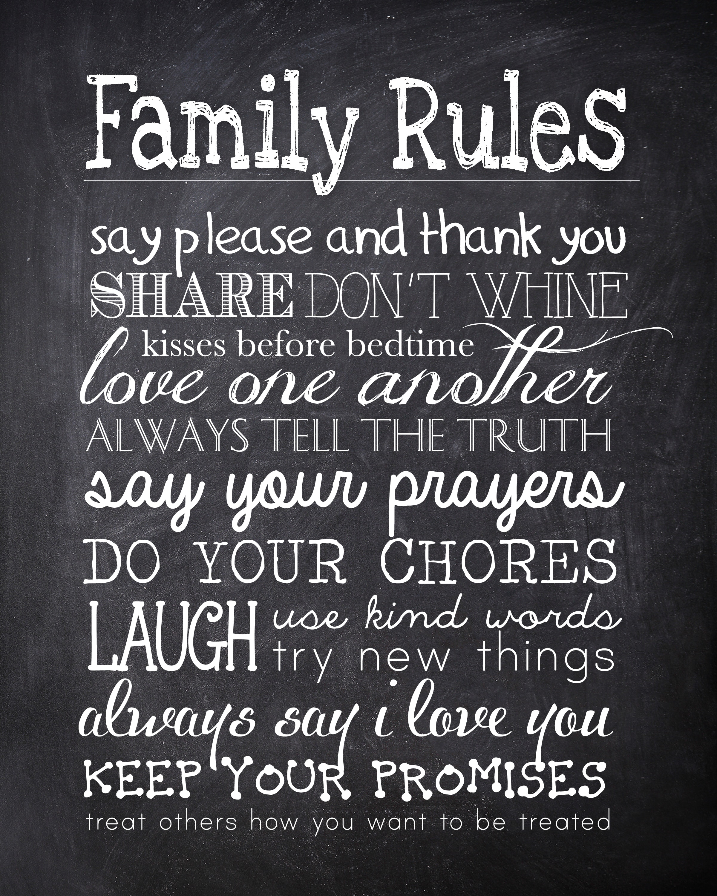 "image about Free Chalkboard Printable referred to as Family members Regulations absolutely free printable - How in the direction of Nest for Lessâ""¢"